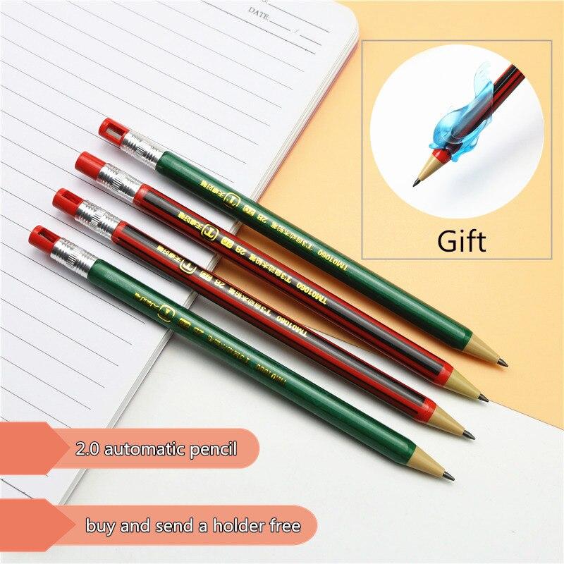 Lápis mecânico de alta qualidade, lápis para estudantes e pinturas de 2.0mm, recarga longa para escrita e 2b, 1 peça