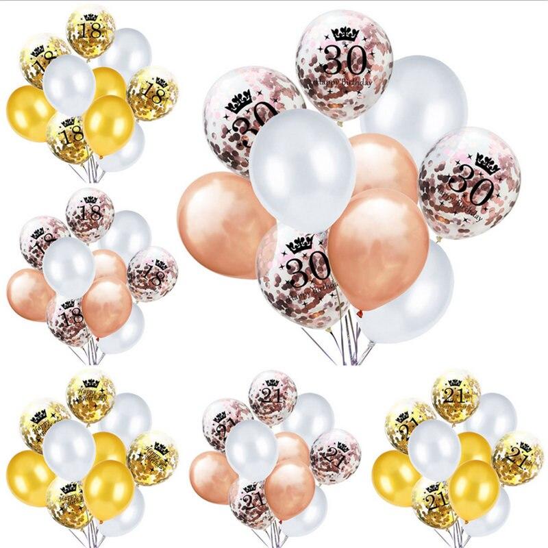 Kit de globos de decoración de fiesta de cumpleaños Amawill, 10 Uds. 18,21, 30,40, 50 Air Golobs con globos de confeti de oro rosa para adultos 8D