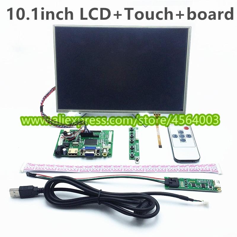 "10.1""inch HD 1280*800 HDMI VGA 2AV LVDS B101EW05 display LCD Controller board monitor + touch screen Digitizer for Raspberry pi"