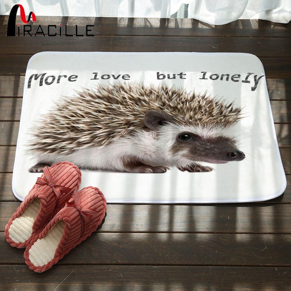 Miracille Cute 3D Animal Hedgehog Dog Rubber Printed Door Mat Coral Fleece Non-slip Floor Carpets Hallway Kitchen Bathroom