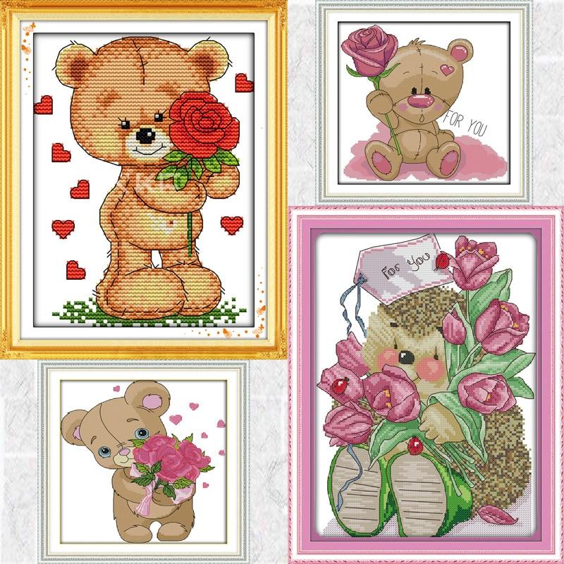 Joy Sunday маленький медведь отправка цветок серии Холст DMC Счетный Китайский Набор для вышивки крестом Печатный Набор для вышивки рукоделие
