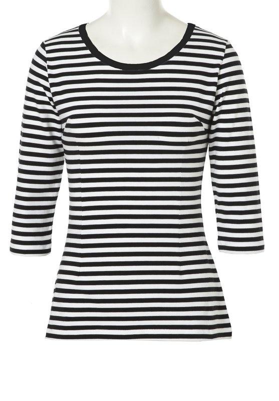 Tops con cuello redondo para mujer, camisetas con rayas blancas y negras, Blusas informales de Estilo Vintage para mujer, camisetas Rockabilly de talla grande 50s 60s Pin Up