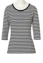 Haut pour femme o-cou noir blanc rayé t-shirts Vintage décontracté paysanne Blusas Femininas grande taille Rockabilly 50 s 60 s Pin Up t-shirts