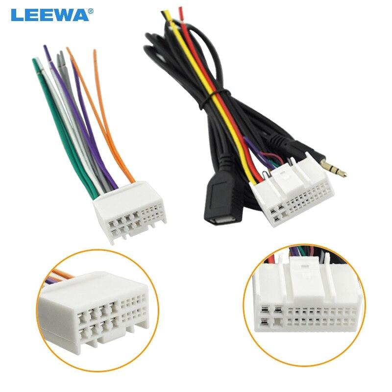 LEEWA Áudio Do Carro CD Stereo Wiring Harness Adapter Com USB/AUX (3.5mm) O plugue Para Kia K2/K5/Sportage R Fábrica OEM Radio DVD Estéreo