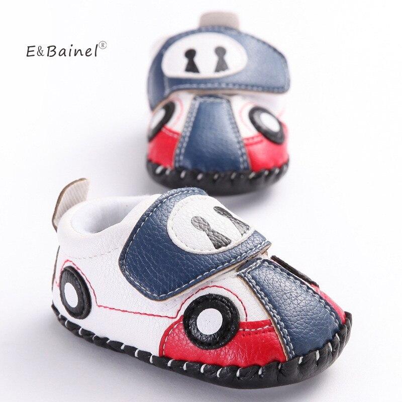 E & Bainel moda bebés niños PU primeros caminadores niños pequeños lindos zapatos de bebé con estampado de coche