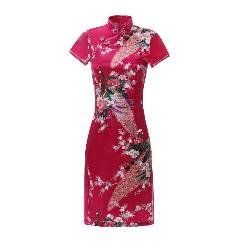 Большие размеры 6XL, ярко-розовое китайское женское короткое сатиновое платье из вискозы, облегающее платье Ципао, новинка, платья с коротким...