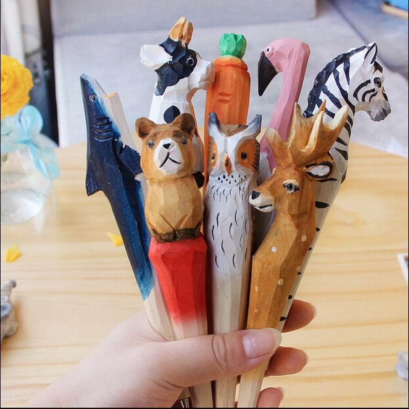 200pcs/lot Animal Wooden Carving Creative Ballpoint Pen Wood Ball Point Pens Handmade Sculpture Student Ball-point Free Shipping
