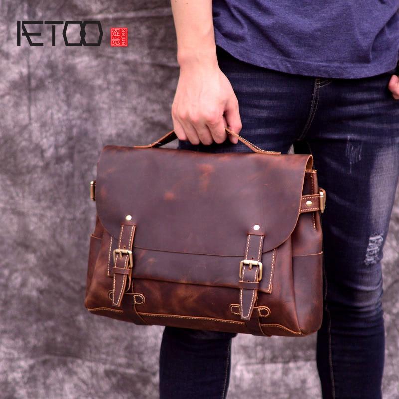 AETOO New head cowhide Oblique cross bag, British Academy wind Postman Bag, leather retro mens handheld shoulder bag