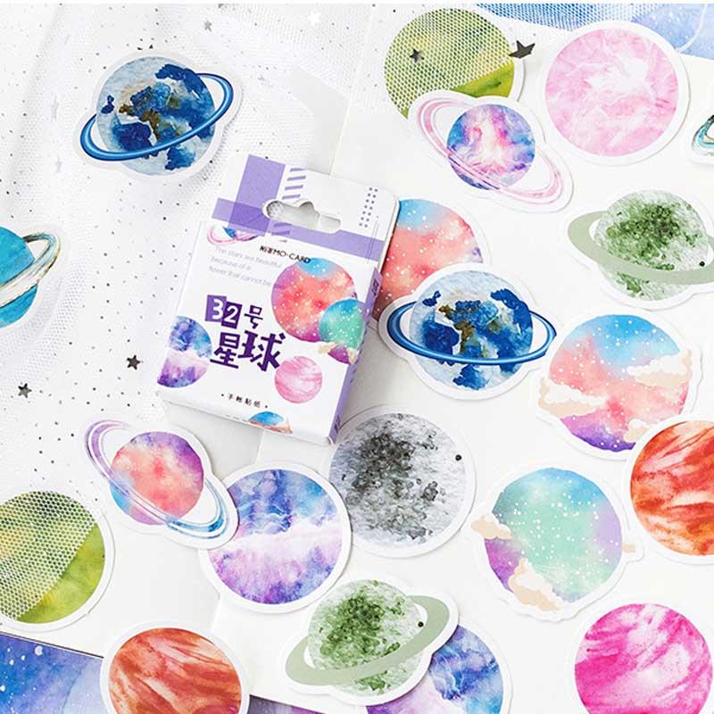 45 Pcs/box Cute Scrapbooking Journal Stationery Diary Japanese Paper Mini Cute Decorative Space Planets Sticker