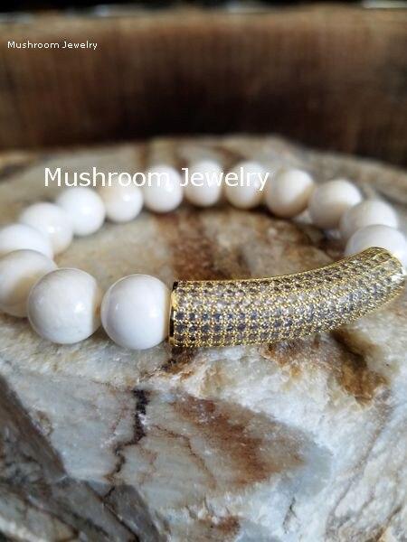 Pave CZ Bar White Beads stretch bracelet,