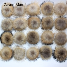 Pompons en fourrure véritable de raton laveur   Bricolage, 13-14cm, pour bonnets tricotés, porte-clés et écharpes, chaussures, gros pom en vraie fourrure, 50 pièces/lot