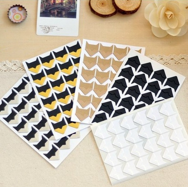 120 unids/lote (5 hojas), pegatinas de Papel Kraft de esquina Vintage DIY para decoración de marcos de fotos, álbum de recortes para estudiantes