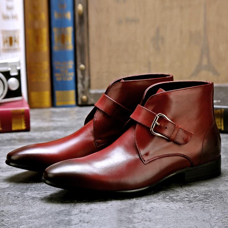 Outono e Inverno Couro de Negócios Novo Tamanho Grande Sapatos Masculinos Quentes Chelsea Couro Genuíno Viajar Elegante Moda Botas 2021