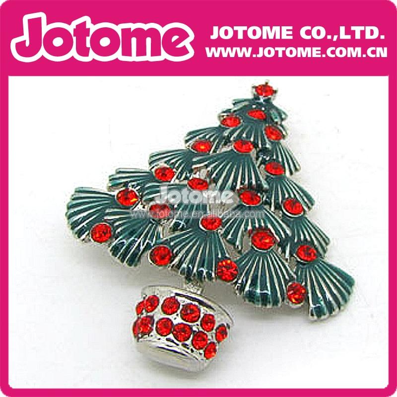 Green enamel leaf rhinstone Christmas Tree design brooch pin gifts