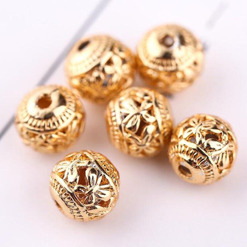 WEIYU, 10 Uds., cuentas de cobre de Color dorado puro de 8mm, cuentas huecas de mariposa, cuentas para manualidades de pulseras, collar, accesorios hechos a mano