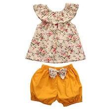 Kleinkind Mädchen Kleidung Set Outfits Blumenhemd Tops Kurzarm Blume Shorts Hosen 2 stücke Set Kleidung Baby mädchen