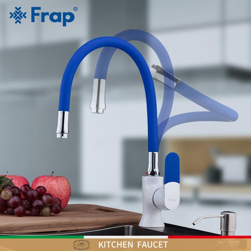 FRAP-حنفيات حوض المطبخ الملونة ، حنفية خلاط مثبتة على سطح السفينة ، صنبور مطبخ