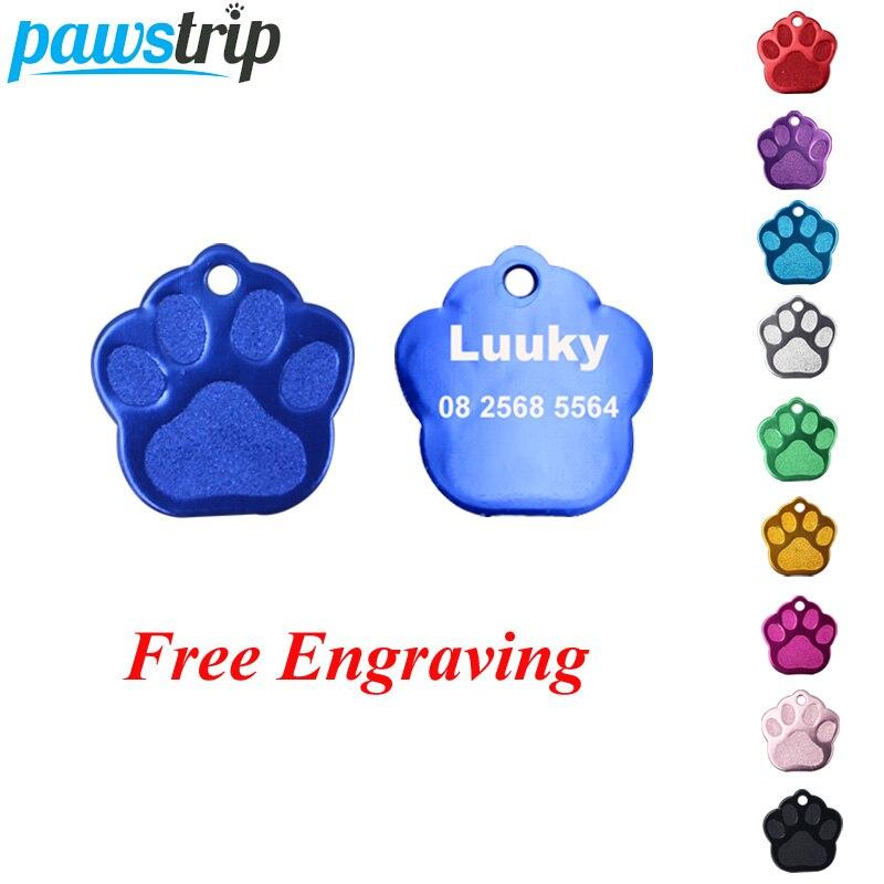 Pawstrip-étiquettes didentification pour chiens   Personnalisées, étiquettes pour animaux domestiques, chien chat, en Aluminium, gravé, nom patte chien, collier, 2 pièces/lot