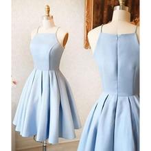 Mint Blue Short Bridesmaid Dresses Spaghetti Strap A Line Knee Length Knee Length Simple Party Dress 2019 Cheap Women Gowns