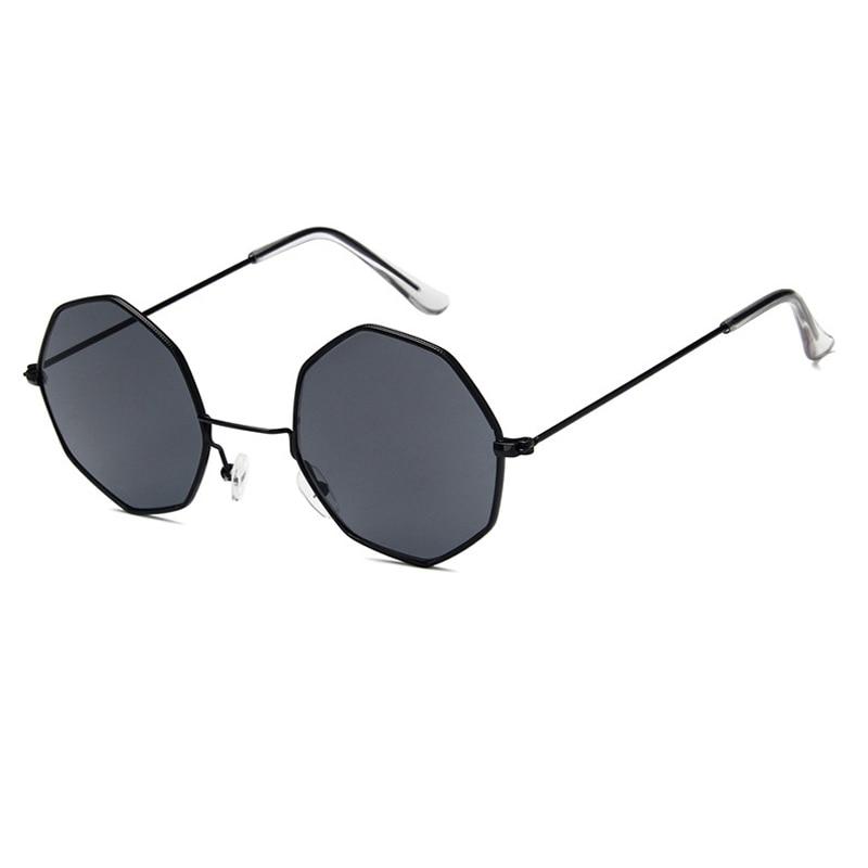 Octagon lentes De Sol para dama espejo redondo Retro De lujo Oval gafas De Sol pequeñas amarillo azul mujeres marca De diseñador Oculos De Sol