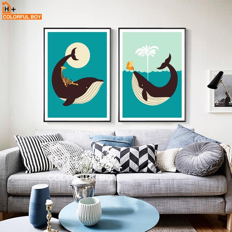 Lienzo de ballena feliz COLORFULBOY, pintura nórdica, cartel, arte de pared encantador, impresiones en lienzo, cuadros de pared para la decoración del hogar de la sala de estar