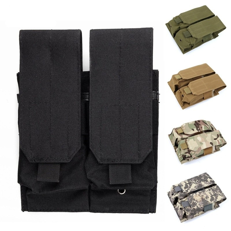 CQC Tactical Molle Clip Double 5.56 M4/M16 AR15 Pistol Magazine Pouch Military Airsoft Paintball Hunting Mag Bag