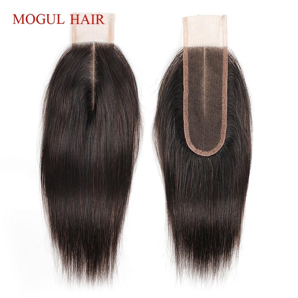 MOGUL HAIR Natural Color Dark Brown Color 2 Color 4 Remy Human Hair Closure Peruvian Straight Hair Hand Tied 2*6 Lace Closure