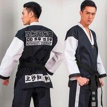 Vechtsporten TKD Tae Kwon Korea V-hals Volwassen Taekwondo Dobok voor Poomsae & Training, WTF Uniform, 160-190 cm zwart + rood