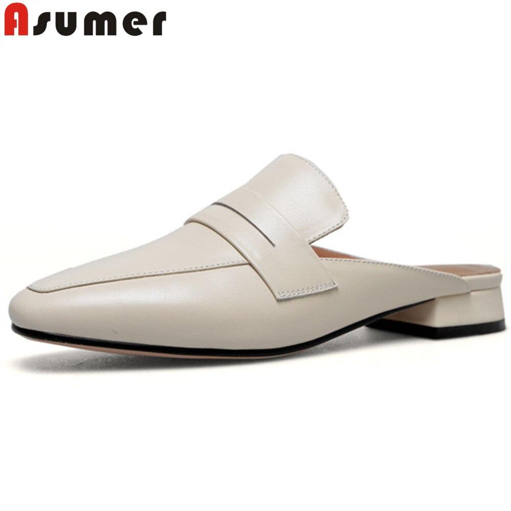 Zapatos de Primavera Verano ASUMER 2020, zapatos de mujer con punta cuadrada, zapatos informales poco profundos, zapatos de tacón bajo, zapatillas de cuero de gamuza, tacón cuadrado