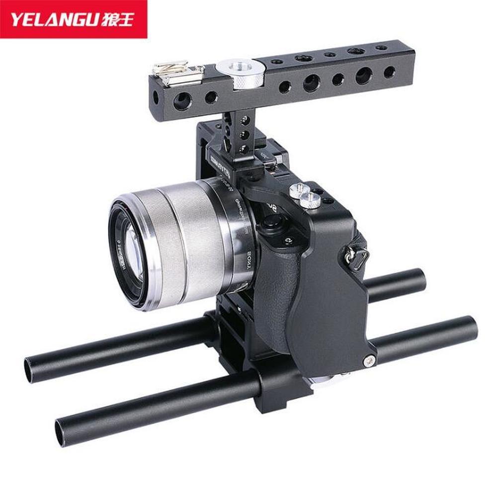 Jaula de cámara YeLangGu para Sony A6000 A6300 A6500 A6400 DSLR cámara de aleación de aluminio jaula de cámara Vlog Metal caso de montaje de zapata fría
