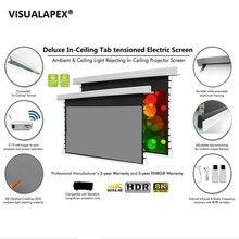140 pouces 169, 4 K/8 K HD prêt, encastré dans le plafond écran de projection électrique à languette tendue, courte portée, projecteurs UHD/HD
