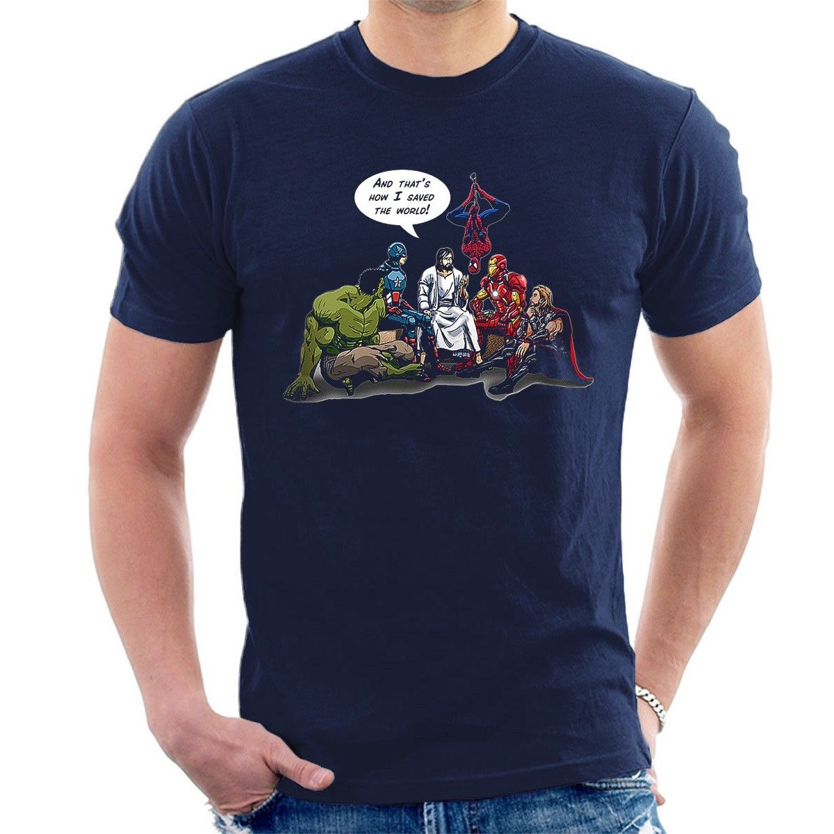 Y así es como SAVED al mundo Jesús superhéroes divertido inspirado algodón suelto para estupendas camisetas para hombres camisetas