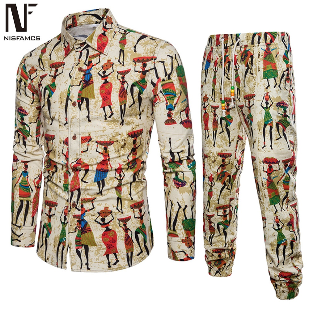 Ethnic Festival Wear Men Tracksuit Business Man Casual Travel Set Long Shirt Long Pants Male Turn-down Collar Shirt Novelty 2020