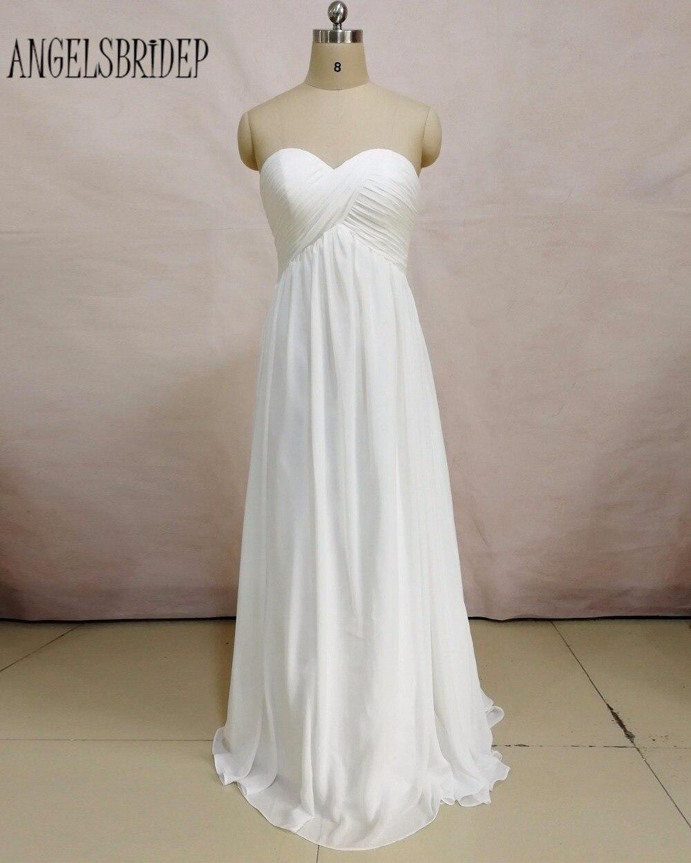 ANGELSBRIDEP Beach Wedding Dresses 2018 Long Chiffon Wedding Gowns White Ivory Sweetheart Formal Bridal Gown vestido de noiva