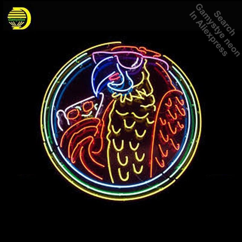 Pássaro papagaio de néon pizza SINAL da LUZ de NÉON Tubo de VIDRO REAL BEER BAR PUB Sinal de Néon Luz Sinal Exposição Da Loja de Artesanato iconic Sinal