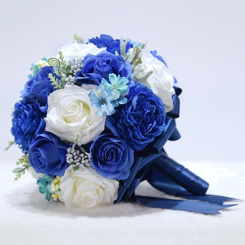 الأزرق الملكي الأبيض باقة الزفاف وردة الفاوانيا الجولة شريط من الساتان زهور الزفاف الاصطناعية اليدوية أنيقة العروس باقة دي نوفيا