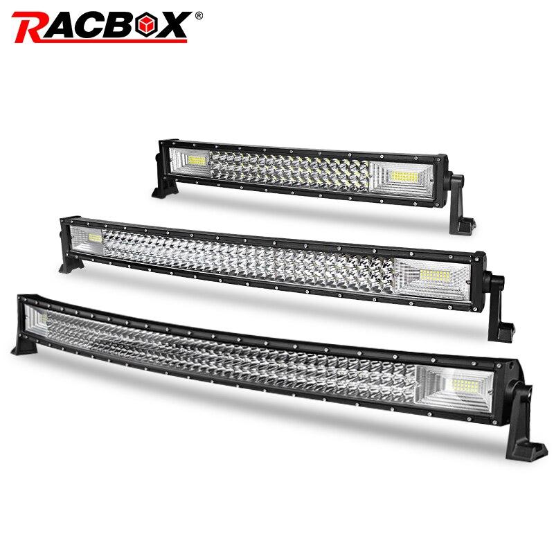 RACBOX lumière de travail à Led incurvée de 42 32 22 pouces   Lampe de travail pour Jeep LADA camion SUV 4x4 ATV UTV remorque UAZ toit du bateau tout-terrain 12V 24V rénovation de voiture