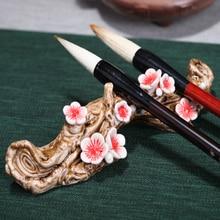Originality Ceramic Pen holder Ruyao Plum blossom pen shelf pen hanging Paperweight for Art painting Calligraphy Paints Supplies