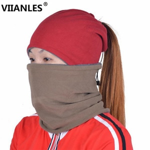 VIIANLES Winter Outdoor Skullies New Arrival 2 Use Cap Knitted Scarf Knit Velvet Skullies Hooded Ladies Hat Warm Beanies