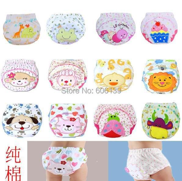 Pantalones de entrenamiento impermeables para bebés, ropa interior suave de dibujos animados para bebés, ropa interior de estudio de algodón para bebés, pañales lavados al orinal 12 unids/lote