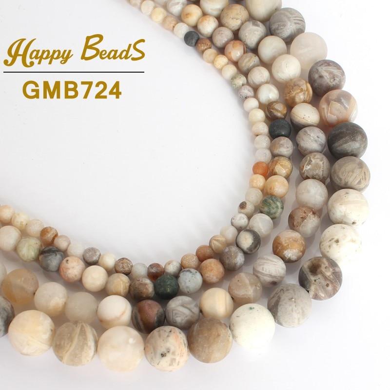 """Mate Natural hoja de bambú ágatas cuentas de Piedra cuenta suelta redonda para la fabricación de la joyería-15 """"4/6/8/10mm elegir tamaño DIY pulsera collar"""