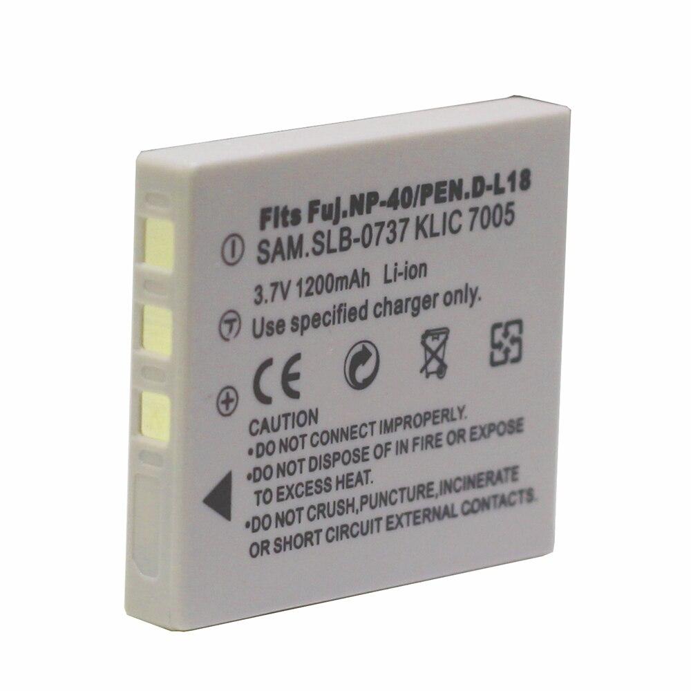 1 Batería de NP-40 NP-40N de 1200mAh para BENQ, DLI-102, FUJIFILM, NP-40, NP-40N, KODAK, KLIC-7005, PENTAX, D-LI8, D-Li85