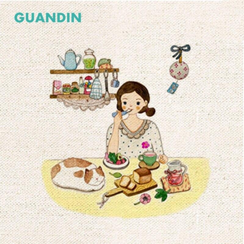 GUANDIN, llanura tejido de lino de algodón impreso Girl Series teñido a mano para DIY costura hecho a mano estera de tabla/cojín de ratón/bolsa /Arte/20*20 cm