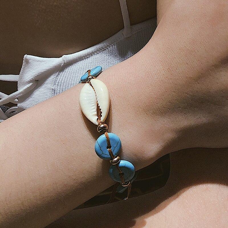 Boho Handmade Natrual Puka Shell Bracelet for Women Cowrie Bohemian Friendship Charm Bracelet Stone Beads Dropshipping