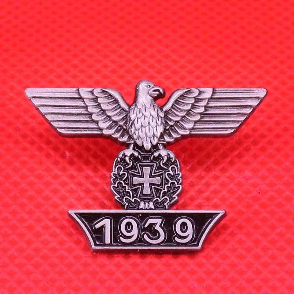 Alemão 1939 águia esmalte pino cruz broche do vintage prata preto metal emblema masculino casaco camisa acessórios jóias patriótico presente
