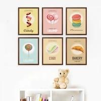 Toile avec imprimes HD de Style nordique  peinture  gateau Dessert doux  affiches dart murales  decoration de maison moderne modulaire pour salon  photos