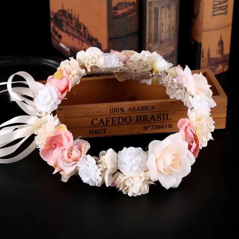 Guirnalda Floral de flores cultivadas de flores para el cabello cinta para el cabello con guirnalda de flores tocados boda novia Tiara adorno de pelo para mujeres y niñas BH