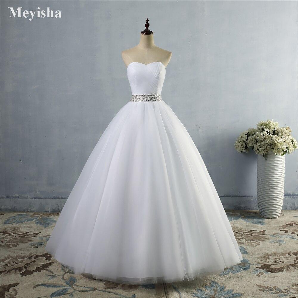 ZJ9040 2019 sin tirantes diamante blanco marfil formal cuentas de cristal vestidos de novia 2020 vestido de novia de talla grande elegante al por mayor