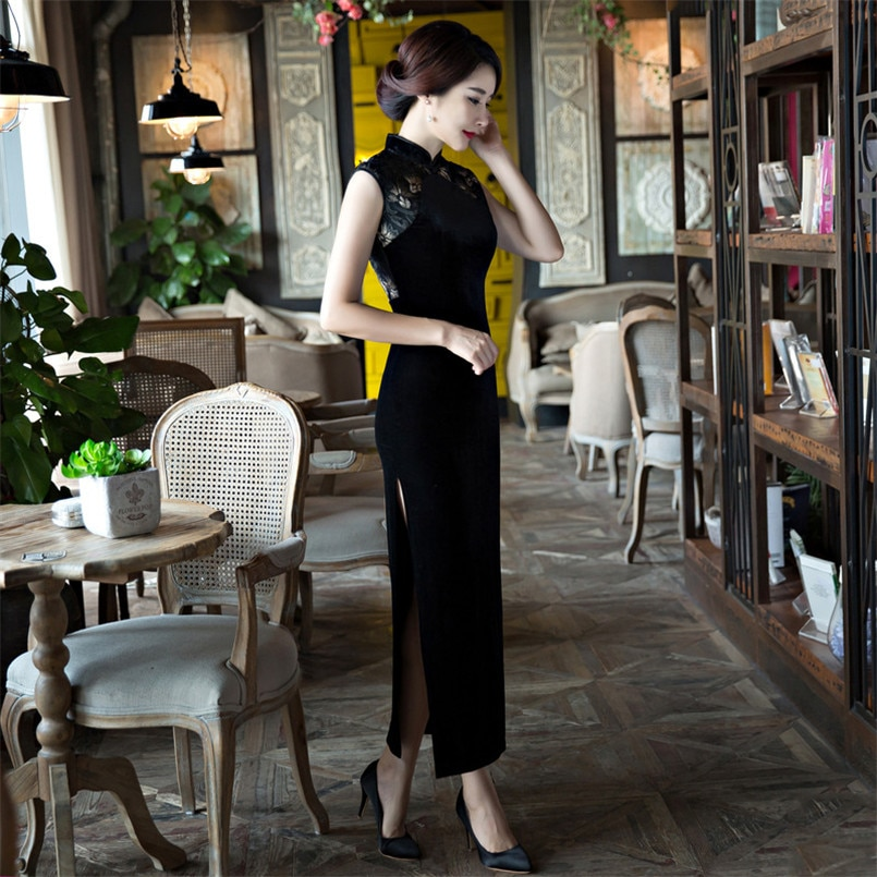 Noble Women Black Lace Cheongsam Dress Elegant Long Hollow Evening Party dress Sexy Sleeveless Velvet