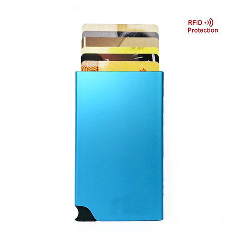 Nueva marca de la tarjeta RFID de aleación de aluminio titular de la Tarjeta de Crédito Banco tarjeta billetera emergente automáticamente colorido, caja de tarjeta
